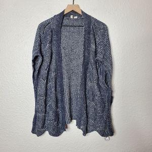 Moth Anthropologie Blue & White Knit Kimono Cardigan